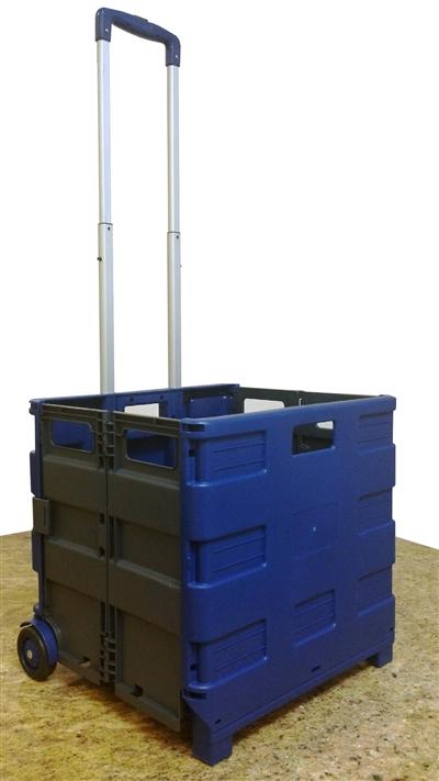 large folding rolling crate portable folding cart blue gray. Black Bedroom Furniture Sets. Home Design Ideas