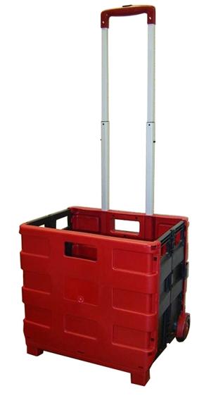 large folding rolling crate portable folding cart red black. Black Bedroom Furniture Sets. Home Design Ideas